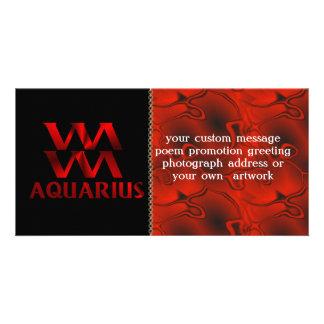 Red Aquarius Horoscope Symbol Picture Card