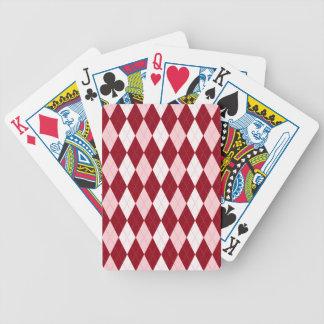 Red Argyle Crimson Pink Small Diamond Shape Bicycle Poker Cards