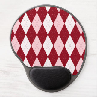 Red Argyle Crimson Pink Small Diamond Shape Gel Mouse Pad