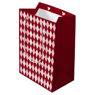 Red Argyle Crimson Pink Small Diamond Shape Medium Gift Bag
