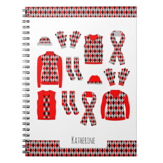 Red Argyle Items Pattern Photo Notebook