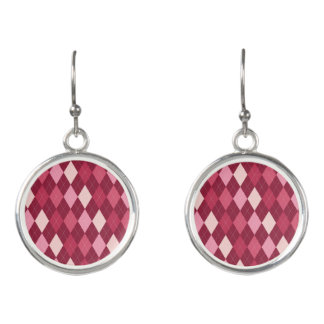 Red argyle pattern earrings