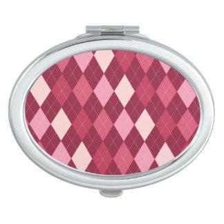 Red argyle pattern makeup mirror
