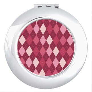 Red argyle pattern mirror for makeup