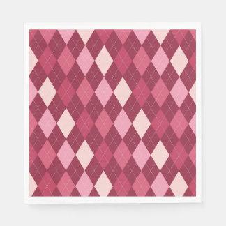 Red argyle pattern paper napkins