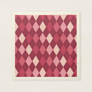 Red argyle pattern paper serviettes
