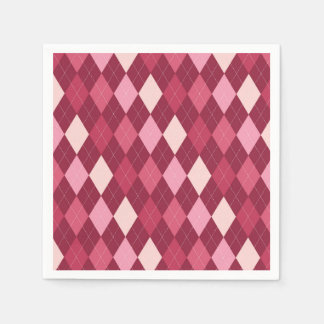 Red argyle pattern paper serviettes
