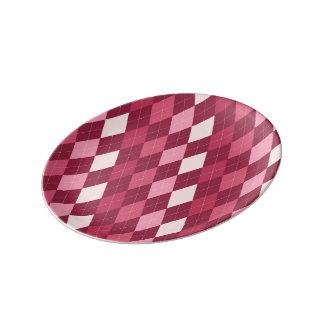 Red argyle pattern porcelain plate