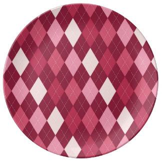 Red argyle pattern porcelain plates
