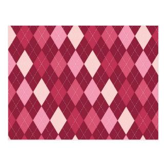 Red argyle pattern postcard