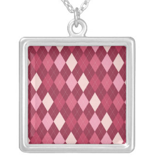 Red argyle pattern silver plated necklace