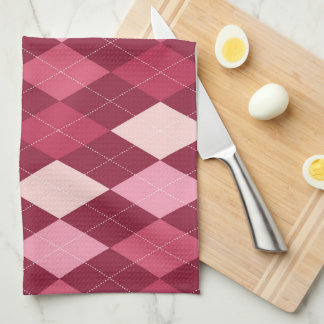 Red argyle pattern towels