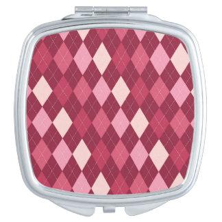Red argyle pattern vanity mirrors