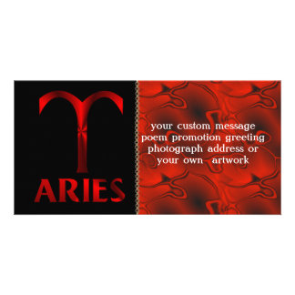 Red Aries Horoscope Symbol Customized Photo Card