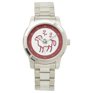 Red Aries Zodiac Sign Wrist Watches