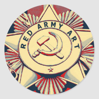 RED ARMY ART ROUND STICKER