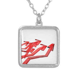 Red arrows silver plated necklace