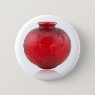 Red Art Deco glass vase with fish design. 6 Cm Round Badge