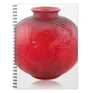 Red Art Deco glass vase with fish design. Spiral Notebook