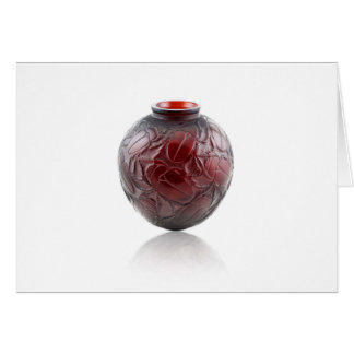 Red Art Deco glass vase with scarabs. Card