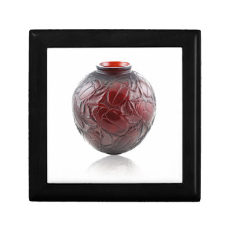 Red Art Deco glass vase with scarabs. Gift Box