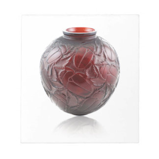 Red Art Deco glass vase with scarabs. Notepad
