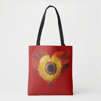 Red Art Flower HeartCustom All-Over-Print Tote Bag