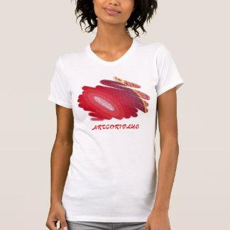 Red Art Spirals Ladies Perf. Mic. Fib. T-Shirt