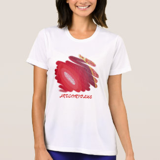Red Art Spirals Ladies Perf. Micro-Fiber T-Shirt