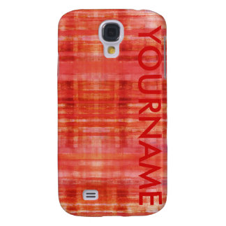 Red Art Stripes Pattern Your Name Samsung Galaxy S4 Covers