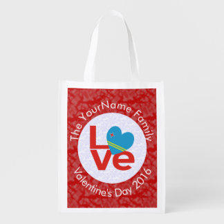Red Aruban LOVE White Circle Red Background Reusable Grocery Bag