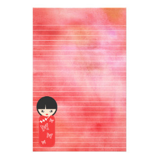 Red Asian Doll Against Red Lined Watercolor Stationery