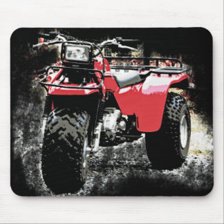 Red ATC  3 Wheeler Offroad Motorcycle on  Black Mouse Pad