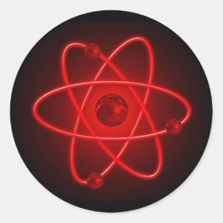 Red Atom Round Sticker