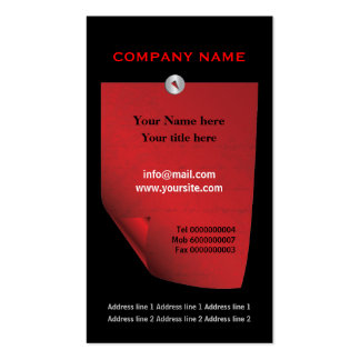 Red attached curlednote custom black business card