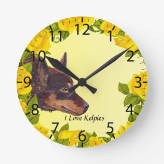 Red Australian Kelpie on Yellow Roses Round Clock