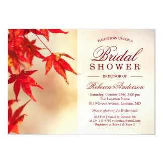 Red Autumn Leaves Elegant Chic Fall Bridal Shower 13 Cm X 18 Cm Invitation Card