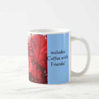 Red Autumn Leaves Mug Best Day Coffee Friends