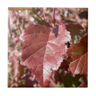 RED AUTUMN LEAVES SMALL SQUARE TILE