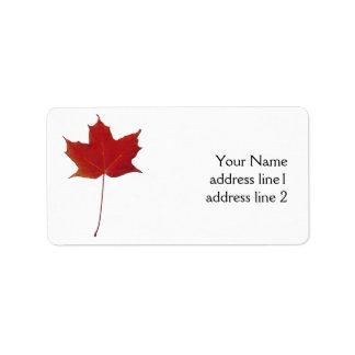 red autumn maple leaf label address label