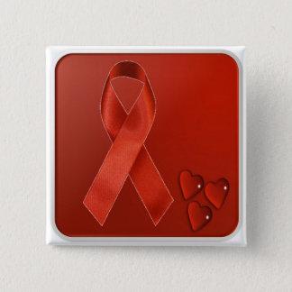 Red Awareness Ribbon 15 Cm Square Badge