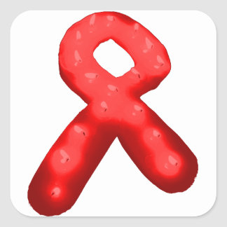 Red Awareness Ribbon Candle Square Sticker