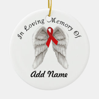Red Awareness Ribbon Christmas Ornament In Memory