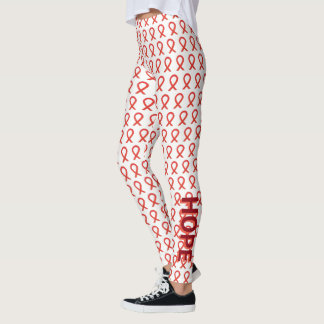 Red Awareness Ribbon Hope and Cure Custom Leggings