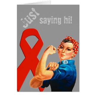 Red Awareness Ribbon Rosie the Riveter Card