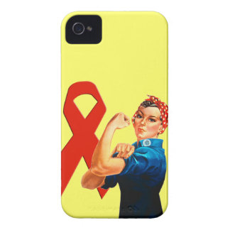 Red Awareness Ribbon Rosie the Riveter iPhone 4 Case