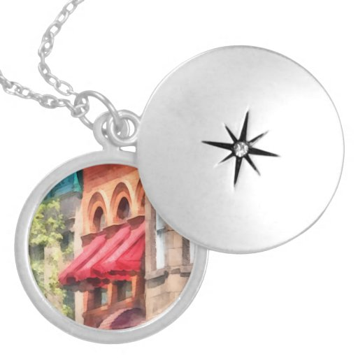 Red Awnings on Brownstone Hoboken NJ Custom Necklace