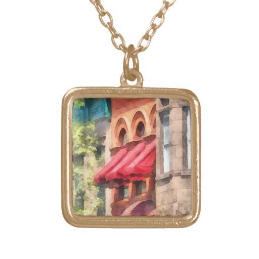 Red Awnings on Brownstone Hoboken NJ Personalized Necklace