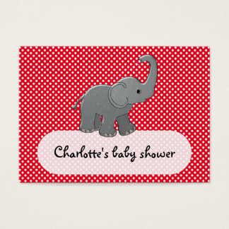 red baby elephant business card
