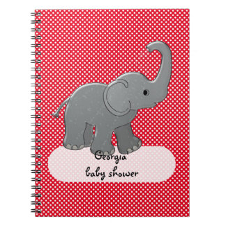 red baby elephant spiral notebook